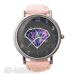 diament - skórzany zegarek z dużą tarczą, geometryczny
