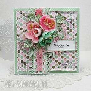 kartka dla babci w pudełku - scrapbooking, kartkadlababci, babcia, kartka, groszki
