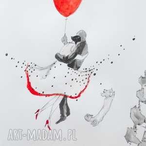 PEŁNIA SZCZĘŚCIA praca akwarelą i piórkiem artystki plastyka Adriany Laube, akwarela