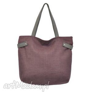 18-0022 Fioletowa torba damska worek xxl na zakupy PEACOCK, markowe, modne, torebki