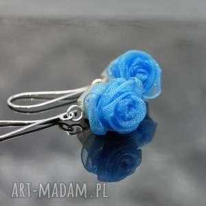 Srebrne kolczyki English roses , błękitne, kolczyki, srebrne, srebo, organza, lekkie
