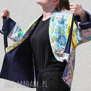 hand-made płaszcze płaszcz patchworkowy z wiązaniem - waciak
