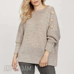 sweter z guzikami - swe218 beż mkm, do pracy, szkoły, sweter, guziki, wygodny