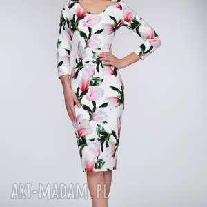 Sukienka MILA Midi Pralinka, dopasowana, ołówkowa, kobieca, kwiaty, midi, dekolt