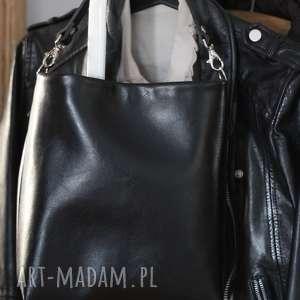 Mała czarna, torba, torebka, damska, skórzana, czarna