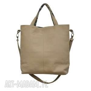 16-0013 Beżowa duża torebka damska z paskiem na ramię JAY, markowe-torebki