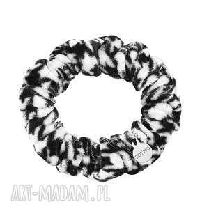 sotho czarno-biała aksamitna gumka do włosów, na rękę