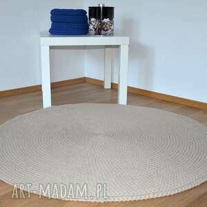 Dywan okrągły ze sznurka bawełnianego - beż 120 cm, dywan, szydełko, rękodzieło