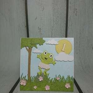 ręcznie wykonane scrapbooking kartki zaproszenie / kartka żabka monika