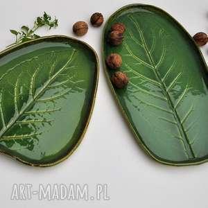 ceramika tyka patera ceramiczna - talerz dekoracyjny z liściem 2 szt