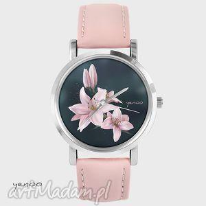 zegarek, bransoletka - lilia pudrowy róż, skórzany, bransoletka, skórzany