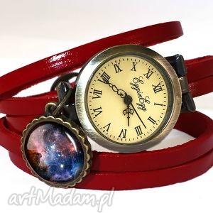carina nebula - zegarek bransoletka na skórzanym pasku, galaxy