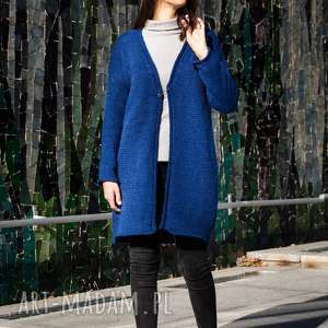 ciemnoniebieski kardigan, sweter, wełna, wełna z merynosów, alpaka