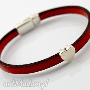 bransoletka skórzana MAGNETOOS MINIMAL RED HEART, bransoletka, skóra, magnetyczne