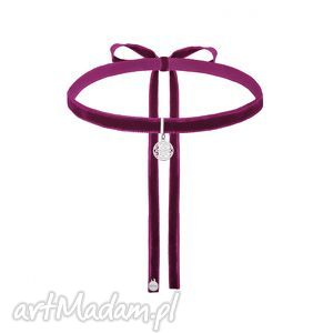 purpurowy aksamitny choker ze srebrną rozetką, modny, zawieszka, minimalistyczny