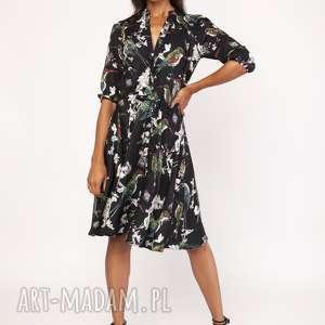 sukienki uniwersalna sukienka z delikatną stójką, suk155 ptaki, sukienka, stójka