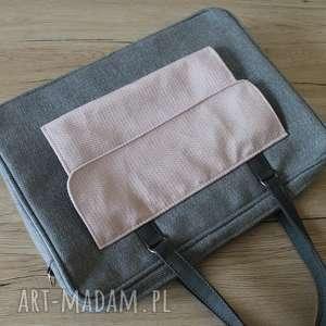 ręcznie zrobione prezent święta torba na laptop - szary i pudrowy