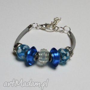 niebiesko-szara bransoletka z linki kauczukowej koralikami ze szkła murano
