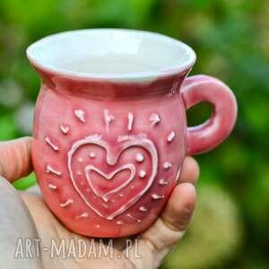 porcelanowy kubek do espresso, handmade kubeczek kawy, różowy 160 ml
