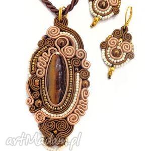 mokkaa komplet biżuterii sutasz golden rain, naszyjnik, kolczyki, oryginalne