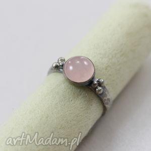 kwarc różowy i srebro - pierścionek 2, kwarc, różowy, srebro