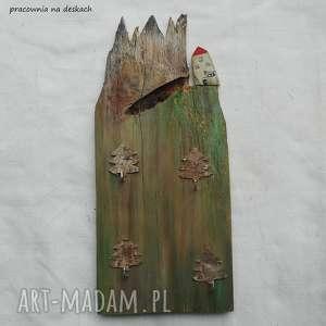 domek z górami - wieszak, wieszak na klucze, rustykalny stara deska