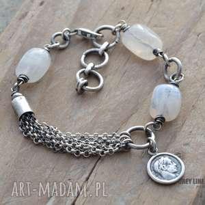 Kamienie księżycowe i moneta, srebro, kamienie, księżycowe, boho, surowa
