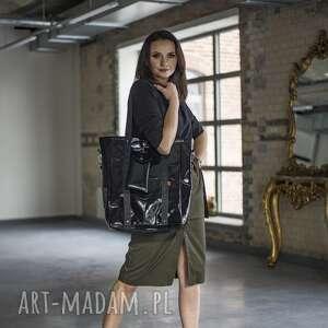 shopperka black glam z saszetką, shopperka, duża torebka, czarna torebka