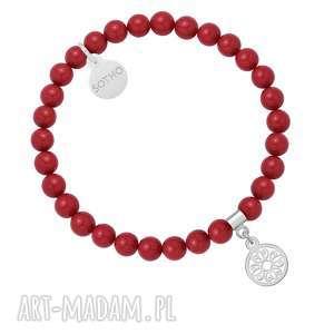 hand made bransoletki czerwona bransoletka z pereł swarovski® crystal ze srebrną rozetką