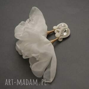 kolczyki sutasz z kwiatkami, sznurek, wyjściowe, delikatne, eleganckie, ślubne