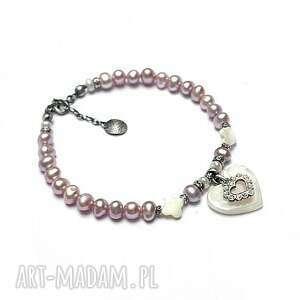 perle heart -powder rose - bransoletka, srebro oksydowane, perły, serce