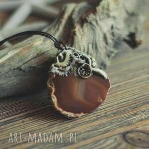 sirius92 wisior z brązowym plastrem agatu, agat