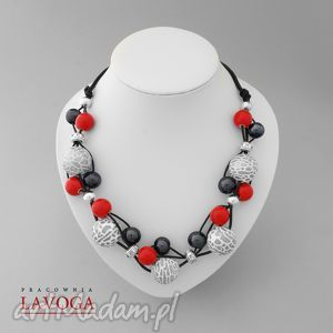 neclase in red gray & black - koraliki, ceramika