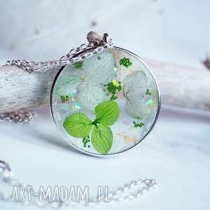 unikatowy srebrny naszyjnik z żywicą i kwiatami, srebro, srebrny, kwiaty, żywica
