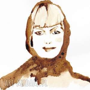 dama z kawy - obraz kawą malowany - spokojny, retro, kawa