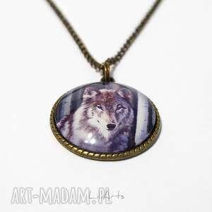 hand-made naszyjniki medalion, naszyjnik - szary wilk antyczny brąz