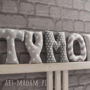 literki z materiału na ścianę - napis, dekoracja, imię, chłopiec