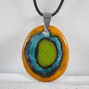 Naszyjnik z dobrą energią, kolorowy, pomarańczowy, ceramiczny, zapinany,