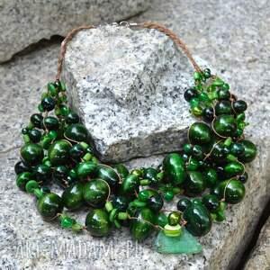 ręczne wykonanie korale zielony masywny naszyjnik z korali drewnianych