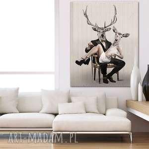 obrazy obraz na płótnie - 80x100cm deer love 02103 wysyłka w 24h