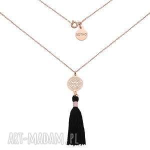 naszyjnik z różowego złota z czarnym chwostem i rozetką - naszyjnik