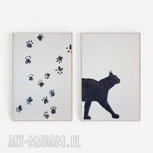 kot-dwie akwarele formatu 18/24 cm każda