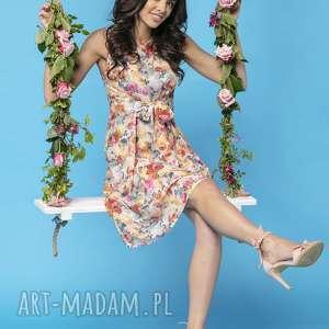 sukienki sukienka 2w1 wiązana na kokardę t234, jasne kwiaty, sukienka, elegancka