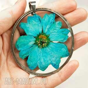 z08 naszyjnik z suszonymi kwiatami, herbarium jewelry, kwiaty w żywicy - naszyjnik z