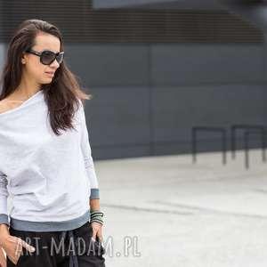 Nun_mi bluza sportowa z dekoltem typu fala jasno szara, sportowa, bluza, ściągacz