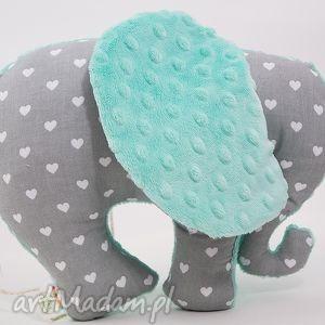 Słoń SERDUSZKA mięta - przytulanka, maskotka, słoń, słonik