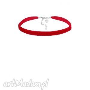 czerwony aksamitny choker z regulowanym zapięciem, modny, minimalistyczny, srebro