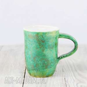 Kubek zielono-biały, do-herbaty, do-kawy, herbata, kawa, pracy, ceramiczny