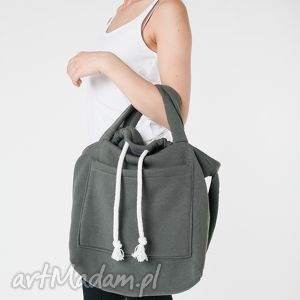 dzianinowa torba worek khaki, dzianinowa, worek, pojemna, duża torebki