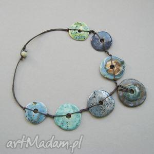naszyjnik zielono-niebieskie koła - naszyjnik, biżuteria, handmade, oryginalny
